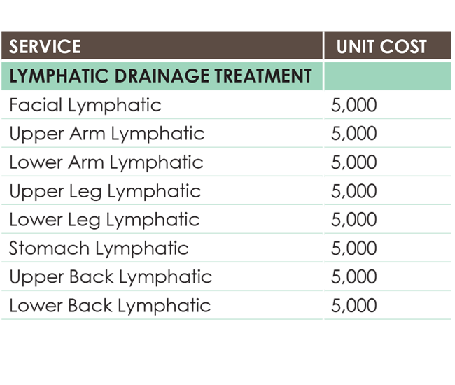 Lymphatic drainage prices